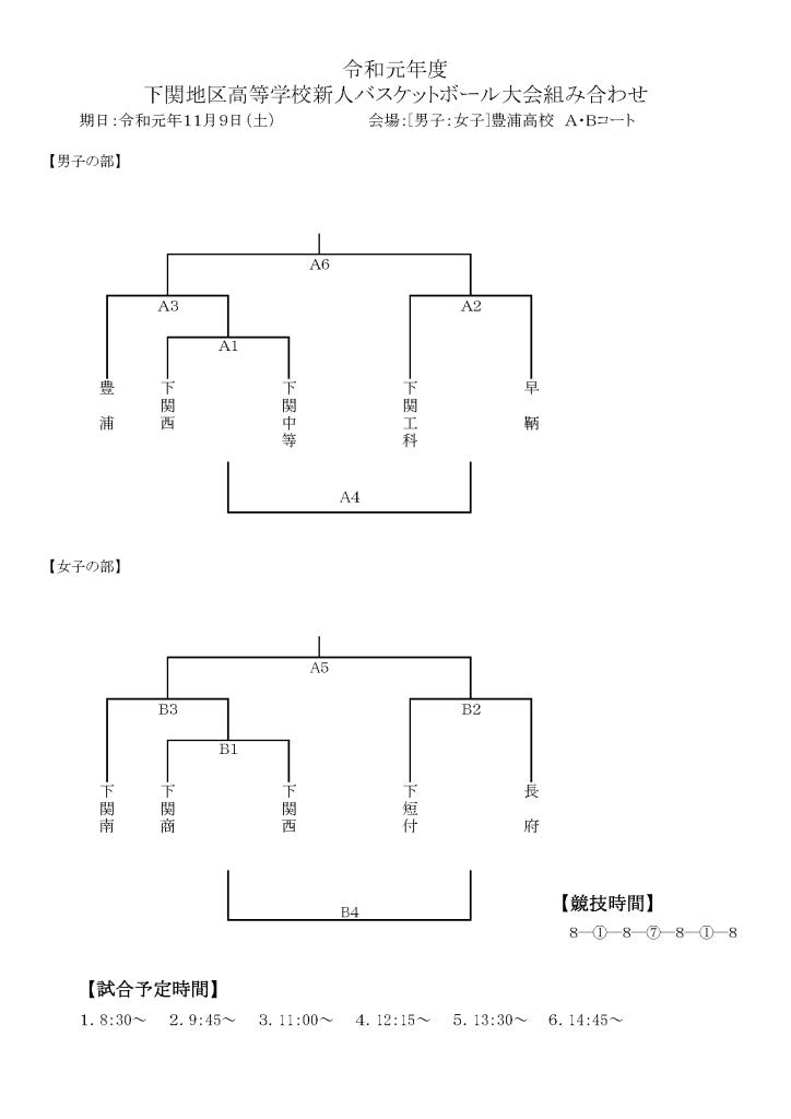 令和下関 新人組み合わせ(男女5チーム)