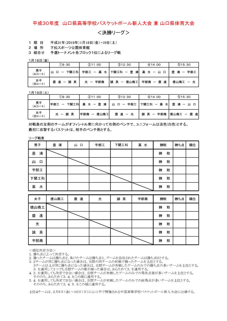 201901新人大会決勝リーグ組合せ
